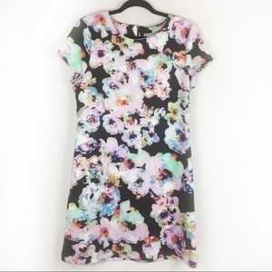 Neiman Marcus | Black and Floral Shift Dress | L